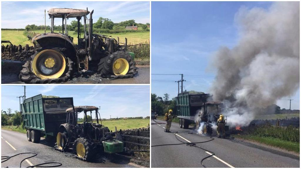 Lucky escape for farmer after tractor catches fire pulling silage trailer