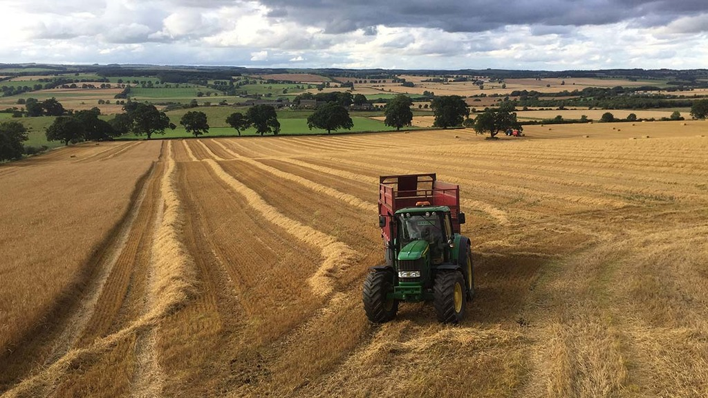 Winter barley harvest nearly complete at Errington Farm, Northumberland