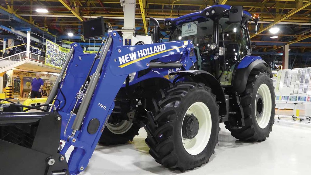 Harry Mann's prize, a New Holland T6.180 with branded Stoll loader