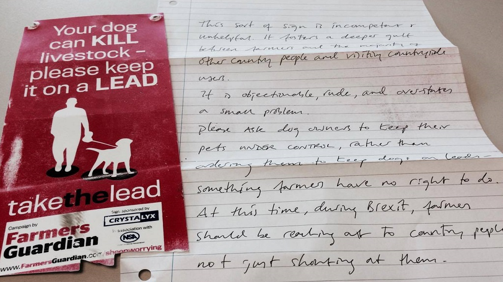 Take the Lead sign ripped down from farm gate by angry dog walker