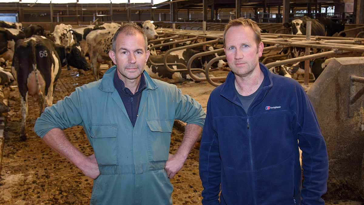 Herd manager David Lievesley (left) and farm manager Jonathan Pickford.