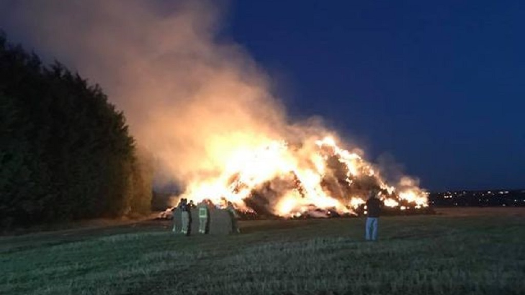 500 tonnes of straw set alight in suspected arson attack on farm