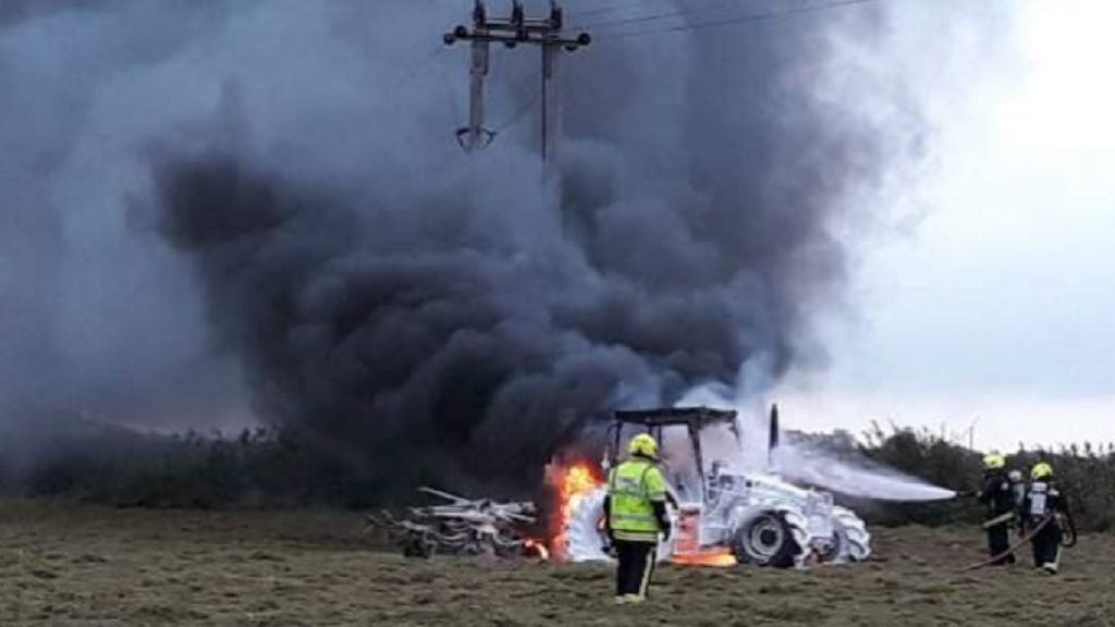 Farmer's tractor destroyed by fire just weeks after huge barn blaze