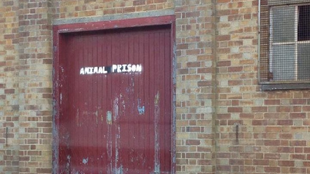 Police called to auction mart after 'animal prison' sprayed on walls by vegan protesters