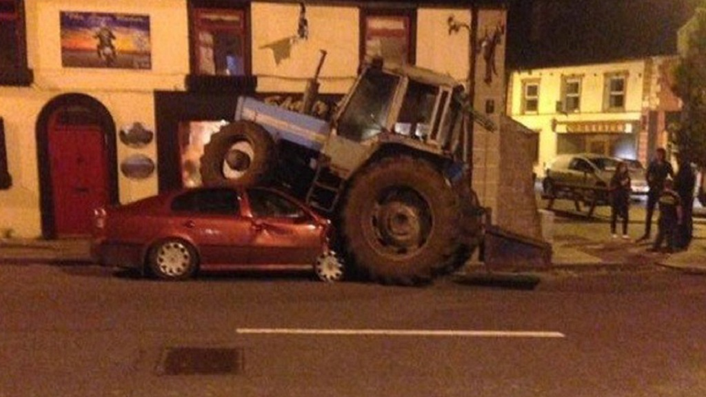 Young farmer disqualified from driving after crashing tractor onto car roof