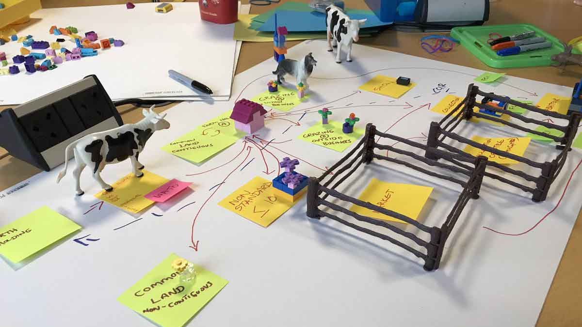 The makeshift prototype includes miniature farm models, role-play and mock technology devices.