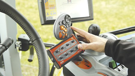 Kuhn's IsoClick controller sees boom and section controls mounted close to hand.