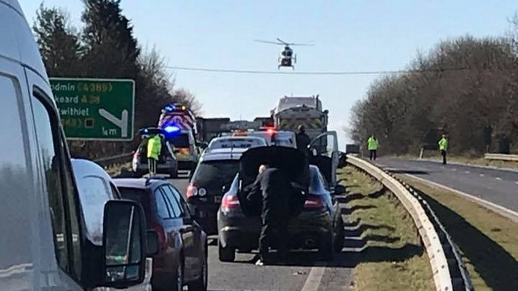 Man 'seriously injured' after crash involving tractor and livestock trailer