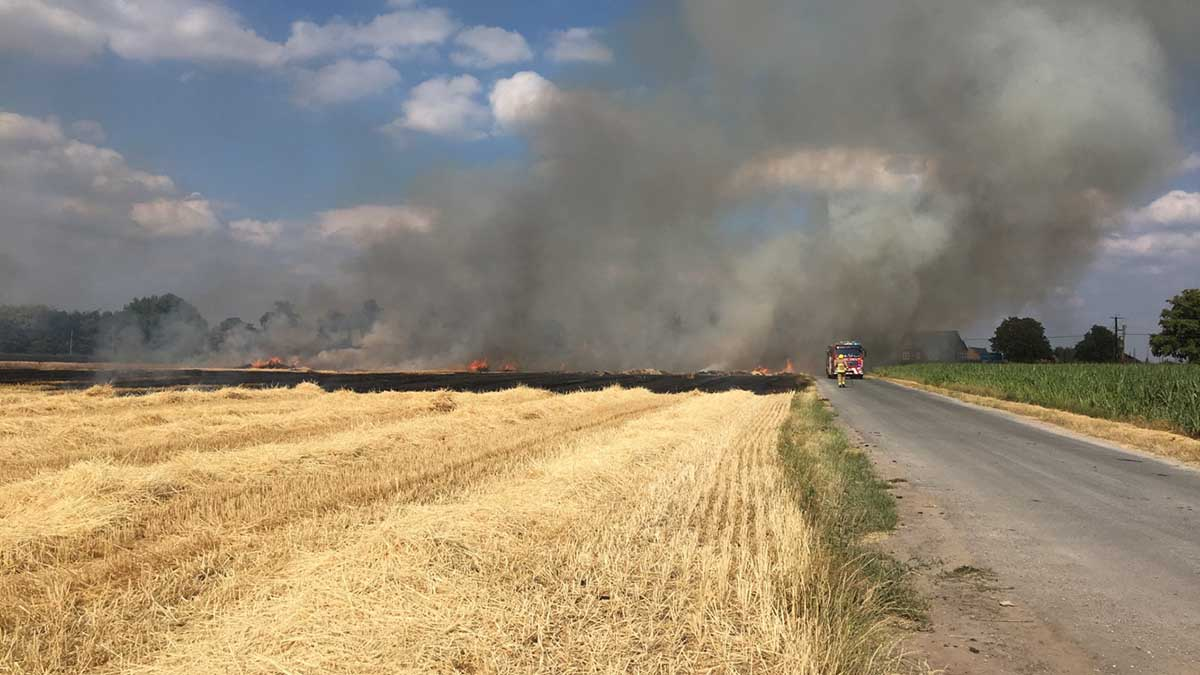 Heatwave sparks machine and crop fires across UK farms