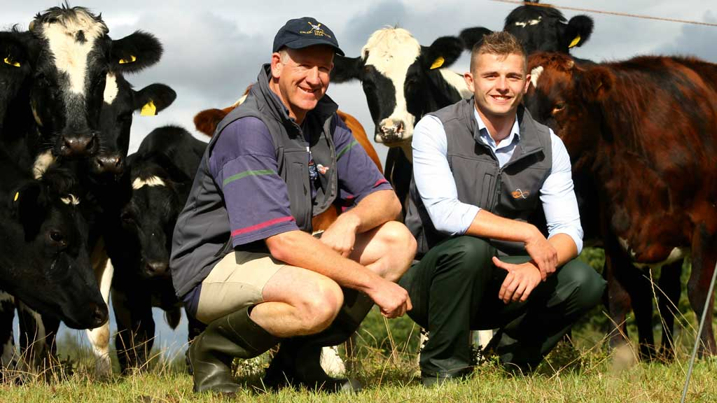 Tim Downes (left) with Cogent breeding adviser Nathan Jones.