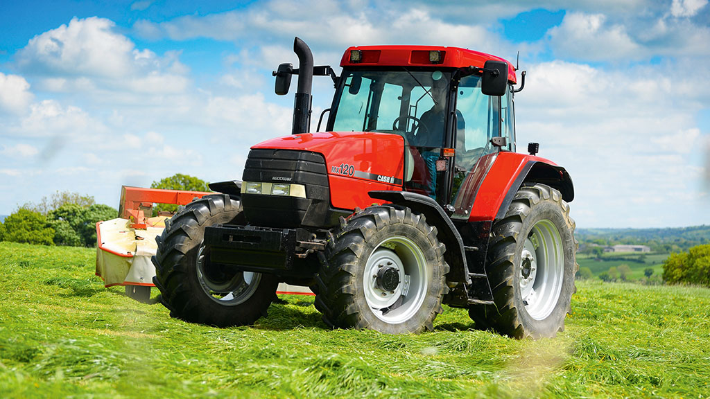 The fresh paint job makes the tractor stand out.