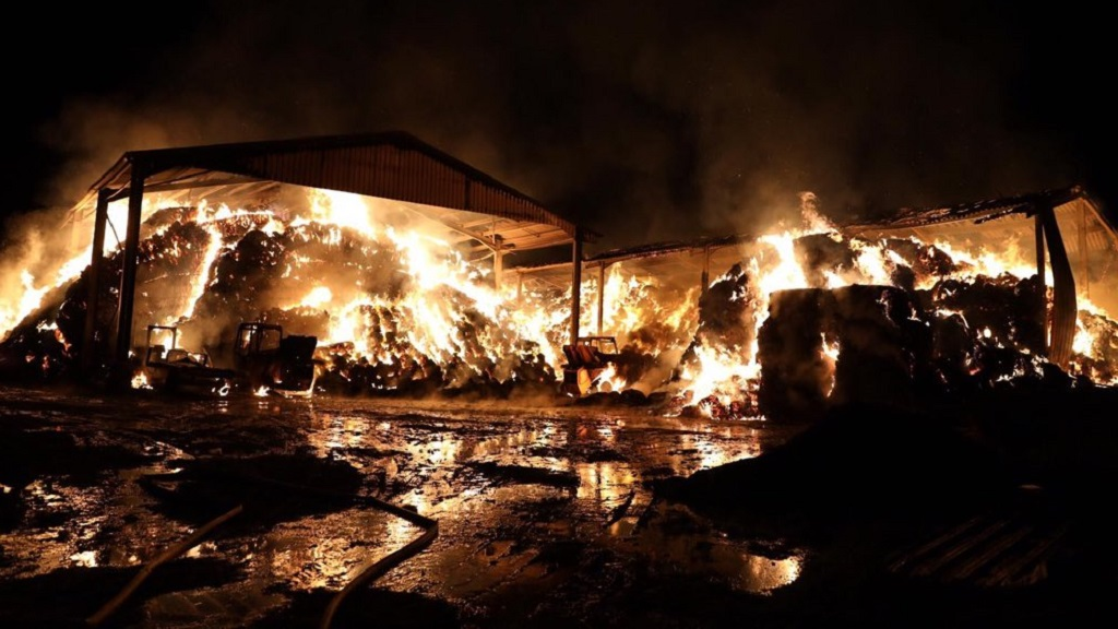 'We lost all our hay and straw' - farmer devastated after huge fire destroys barn