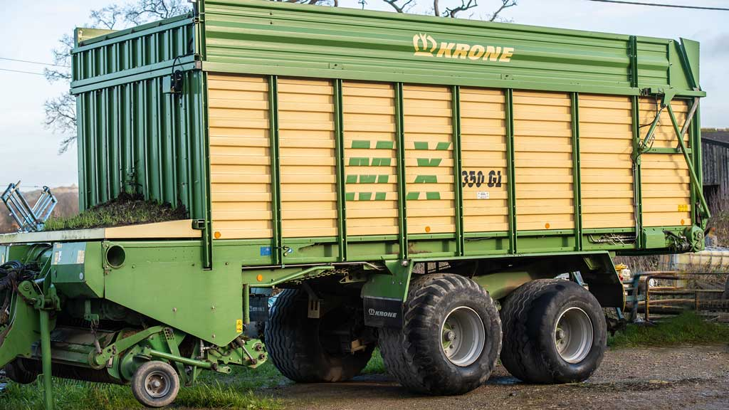 The Krone 350 GX forage wagon is an essential part of the farm's 'dry weather management plan'.