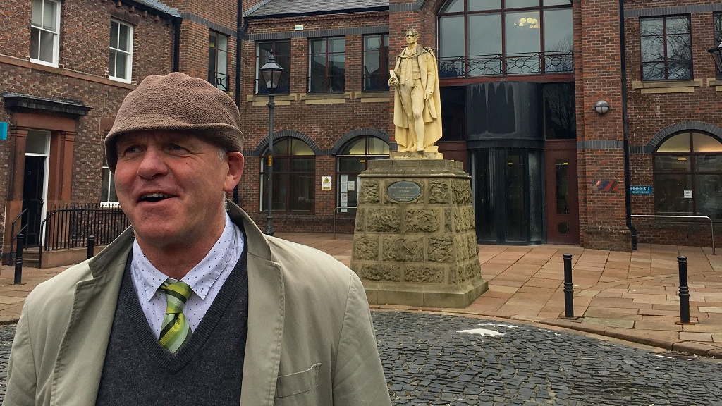 Paul Barnes outside Carlisle Crown Court after his conviction was quashed