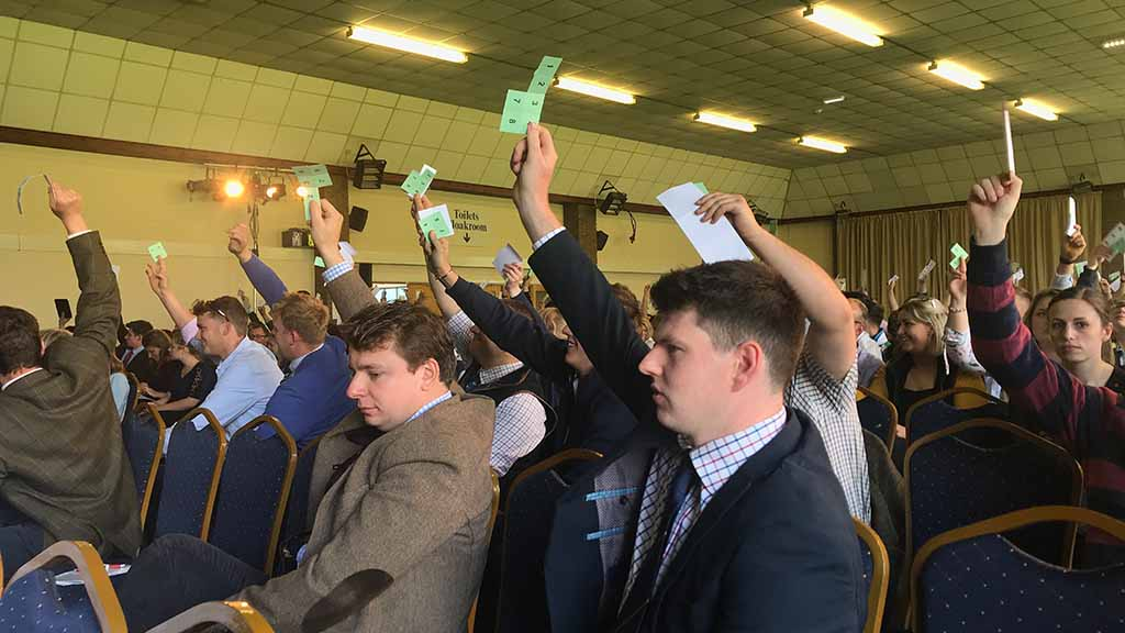 Young farmers voting at NFYFC's AGM on Sunday (May 12).