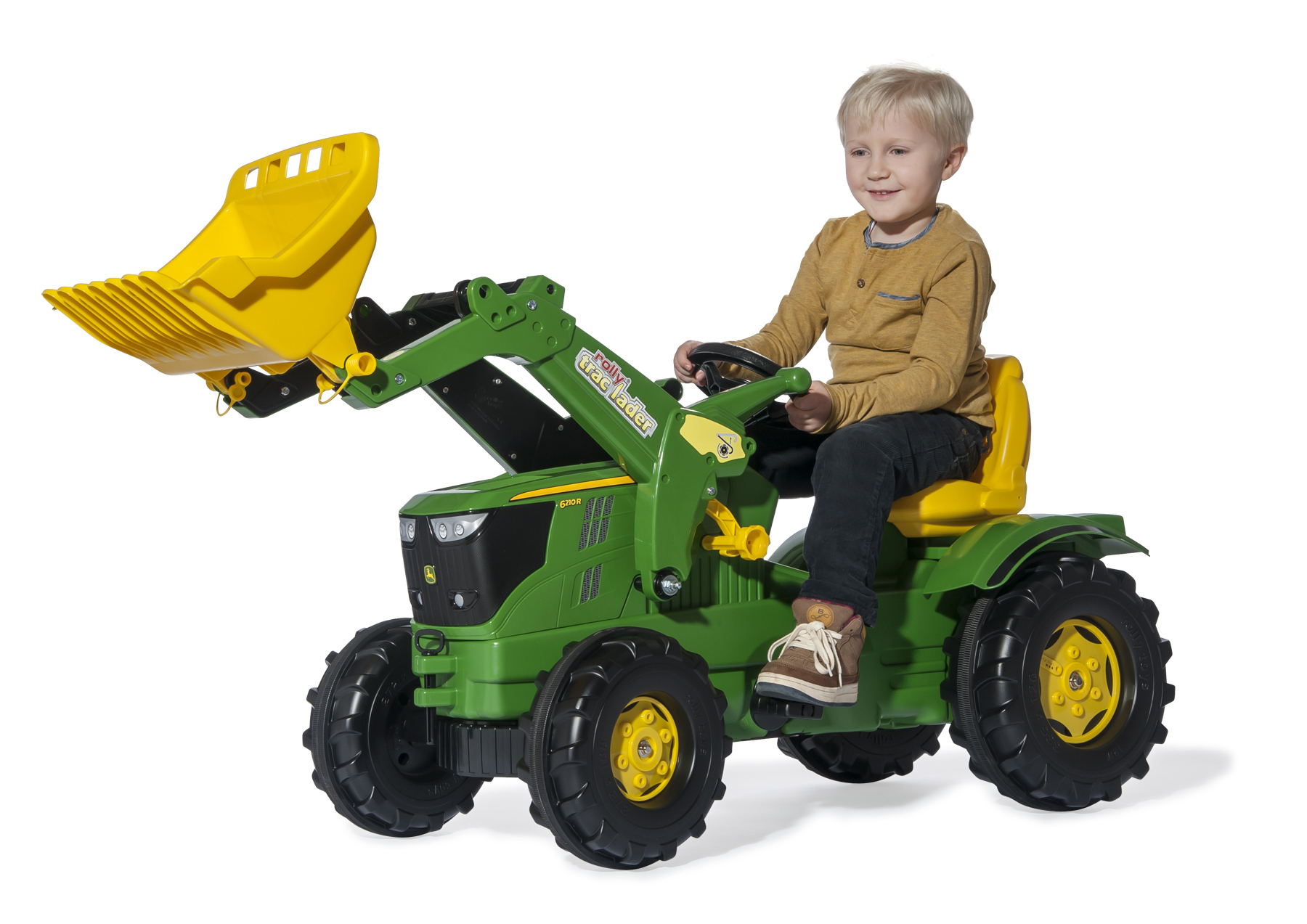 7:15am: John Deere 6210R ride-on tractor