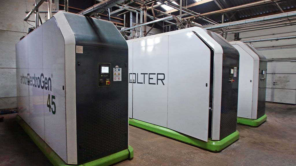Three biomass boilers provide enough power for the farm and farm house.