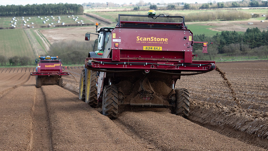 A pair of ScanStone Eco Star separators – part of a fleet of six – prepare ground in Suffolk for Tompsett Growers' parsnip crop.