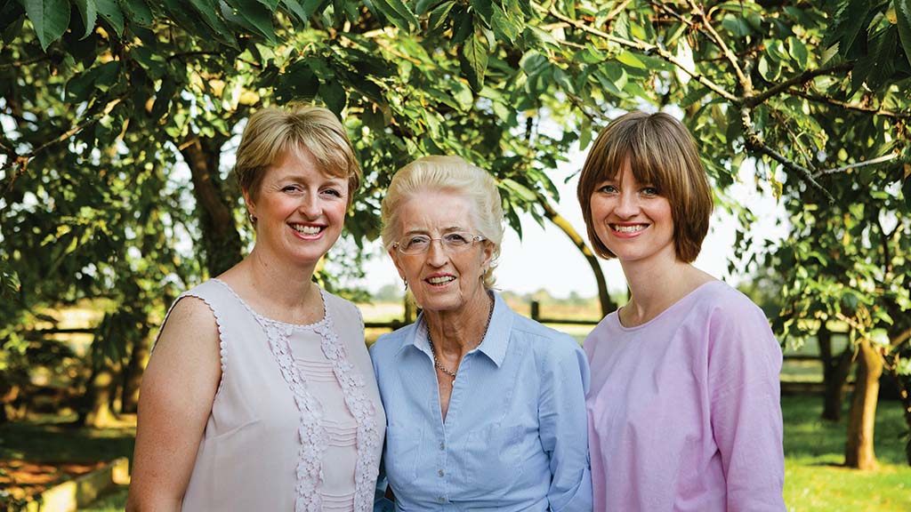 Marion Darlington (centre) and her daughters Sarah (left) and Wendy (right).