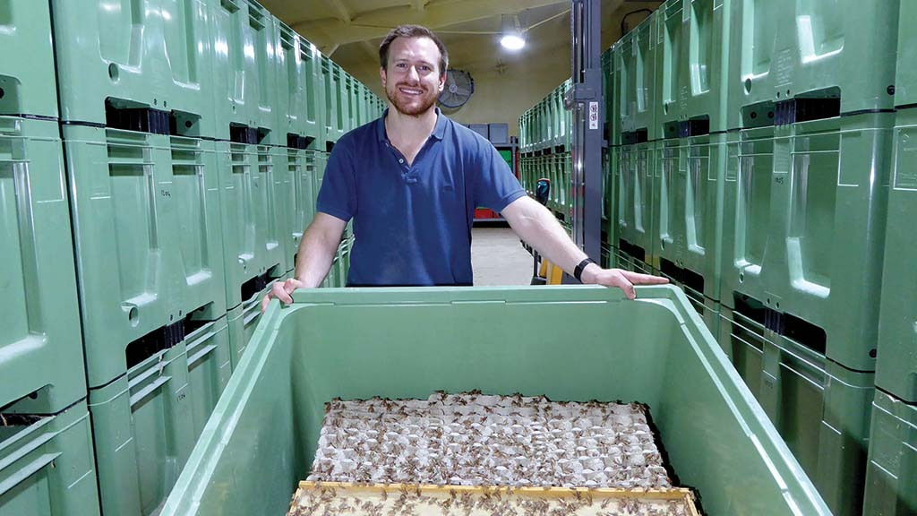 Adam Banks is raising crickets at his farm in Lincolnshire