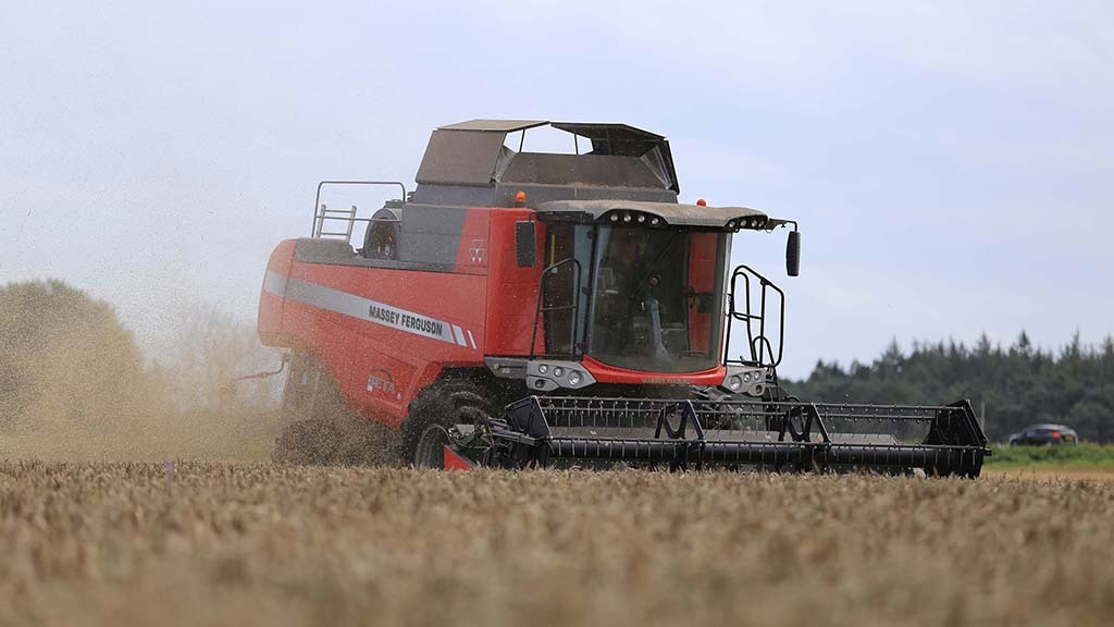 The combine typically cuts at 5kph covering up to 2.4ha per hour.