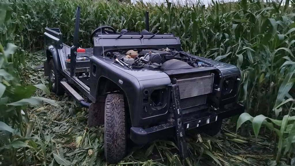 Police recover partially stripped Land Rover Defender from a maize field