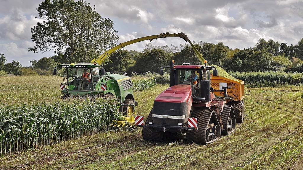 Chaser bins are used to pull by Case IH Quadtracs to ensure maize harvest can continue, despite wet conditions.