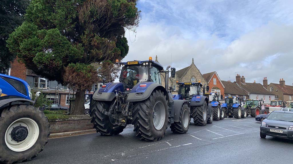Farmers participate in tractor demonstrations against Government's Agriculture Bill
