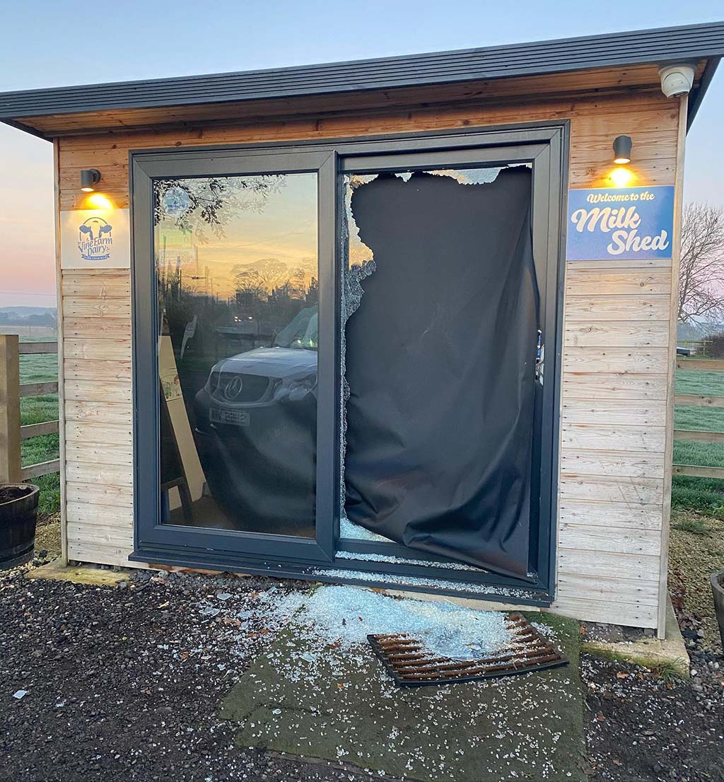 Thieves smash their way into farm's milk vending machines to steal cash
