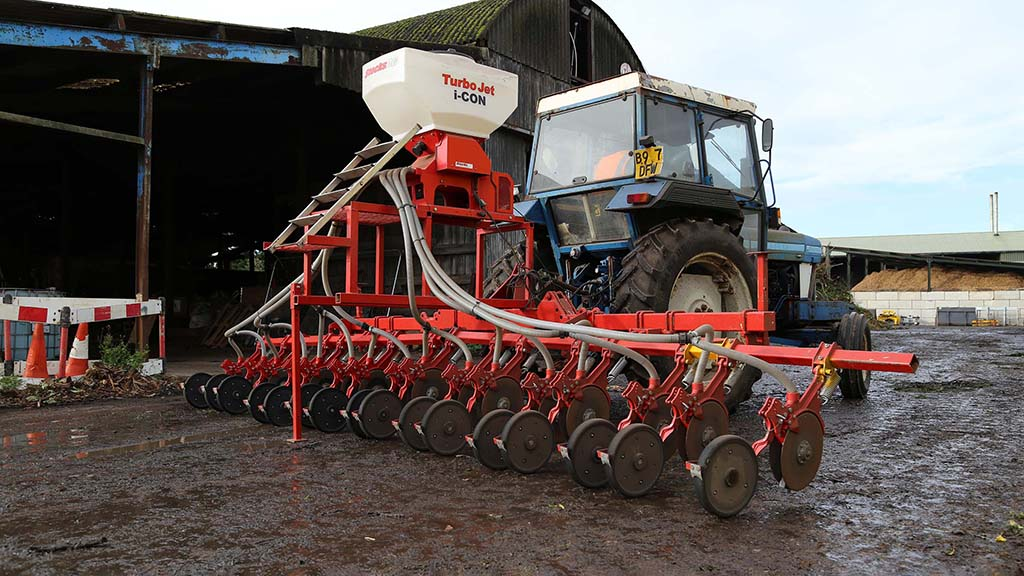 Oliver Mackintosh has designed and built an interrow drill, designed to sow grass seed between maize rows.