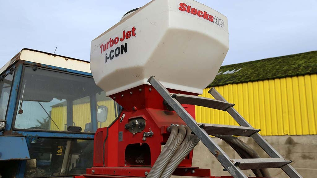 A 240 litre Stocks Turbo Jet is responsible for metering seed with a GPS speed sensor.