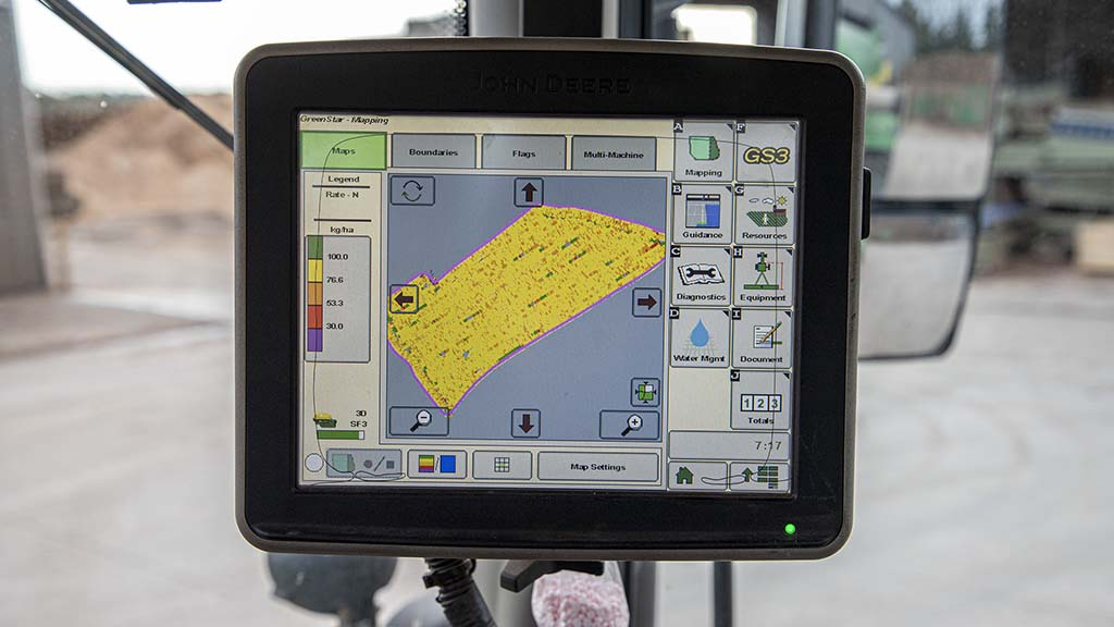 John Deere's manure sensing software provides live nutrient analysis data and shows in-field application.