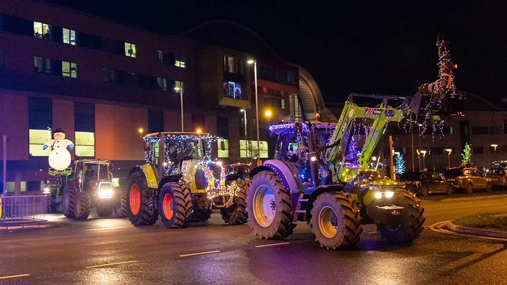 Farmers spread festive cheer from tractor cabs