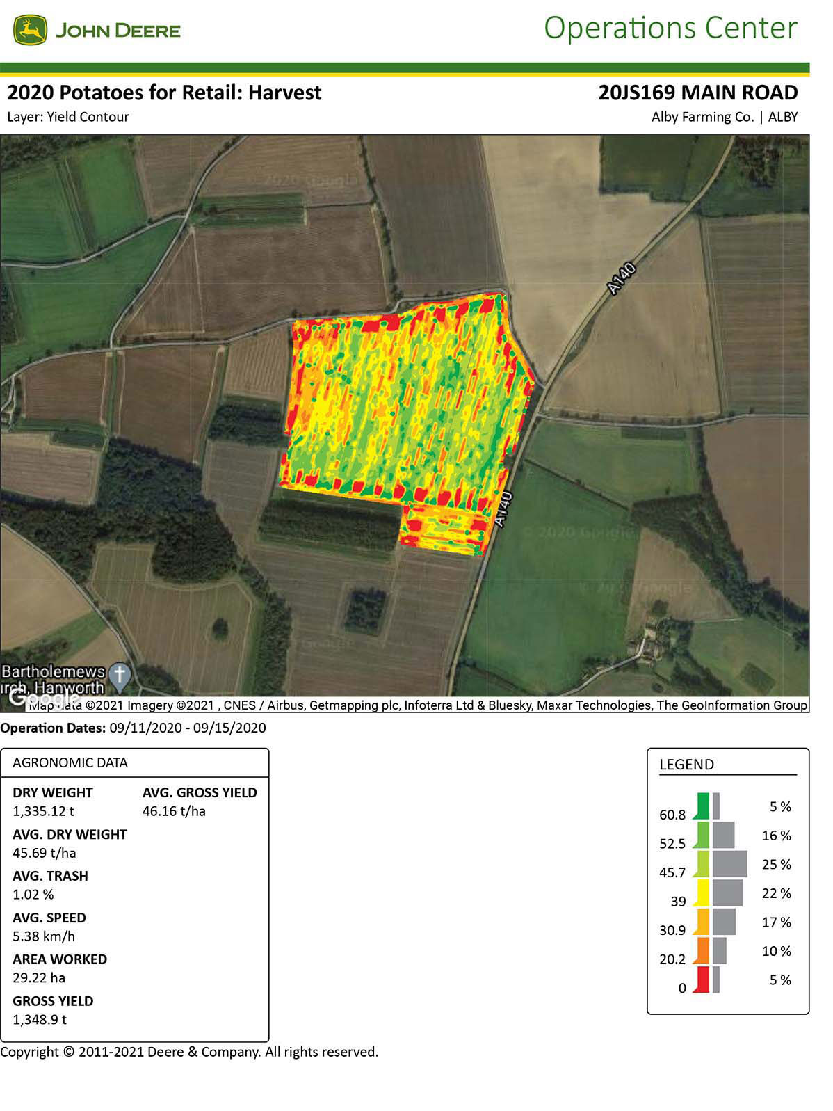 The yield map generated by the Grimme harvester is displayed in the MyJohnDeere portal in the farm office.