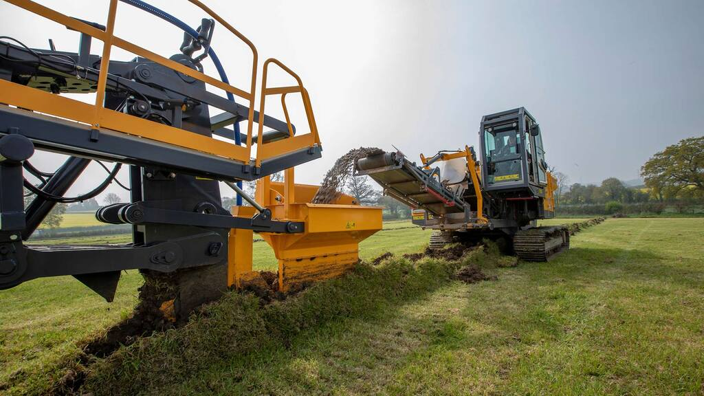 The company also uses a self-propelled tracked gravel cart, which follows the plough and supplies gravel backfill, offering a lighter tread than traditional wheeled and tractor drawn gravel carts.
