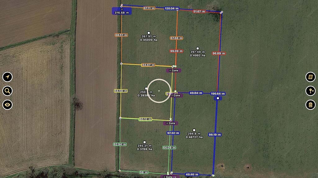 A planning app is used to divide fields up into paddocks and help calculate the amount of materials needed.
