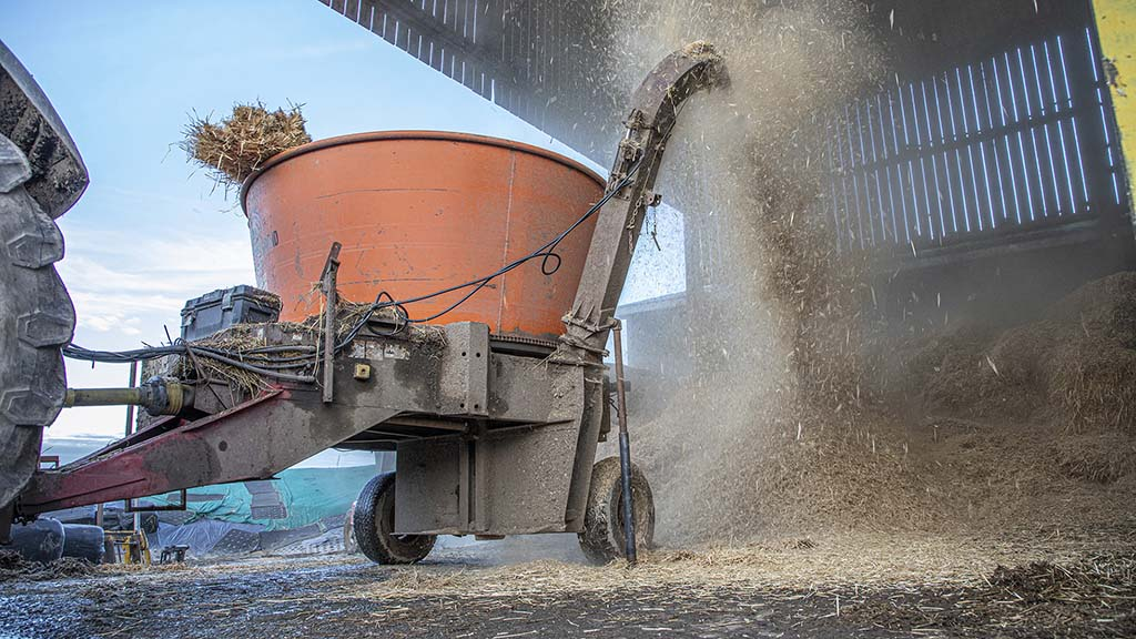 The Roto Grind 760 processor makes light work of big square straw bales.