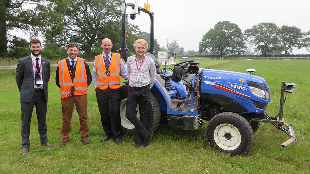 Left to right - Kit Franklin, senior lecturer in agricultural engineering, Jonathan Gill, mechatronics and UAV researcher,  Mike Gutteridge, research assistant and Martin Abell, Precision Decisions.