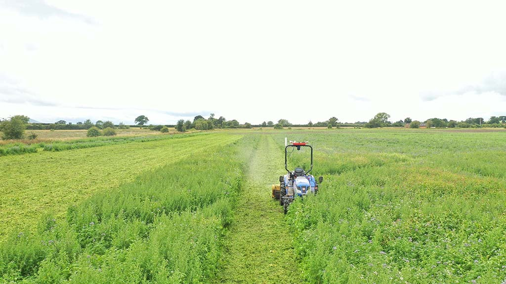 Topping the cover crop with the autonomous Iseki tractor at the end of the summer; development work during lockdown had improved the simplicity and reliability of control.
