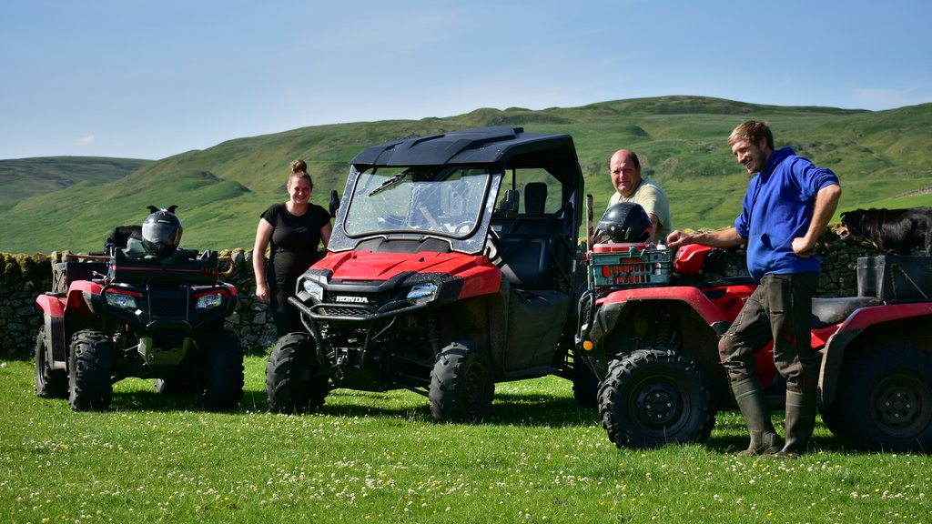 Pictured with their fleet of three Hondas, including two Foreman 500 ATVs and a Pioneer 700-M2 UTV, are company founder Richard Colley (centre) with daughter Hannah and son Richard.