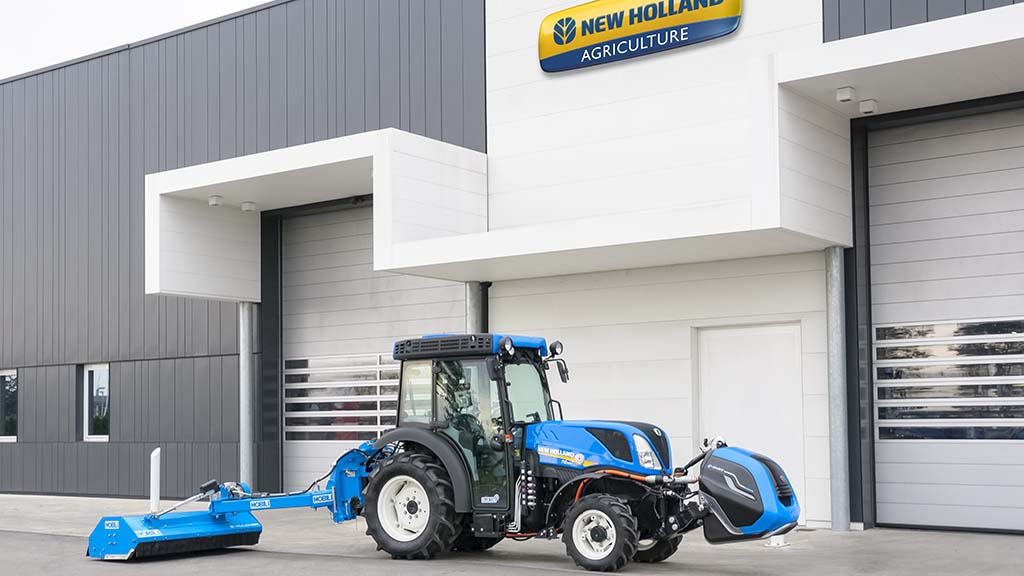 New Holland has partnered with Italian implements producer Nobili to produce electric implements, powered by a pto generator.
