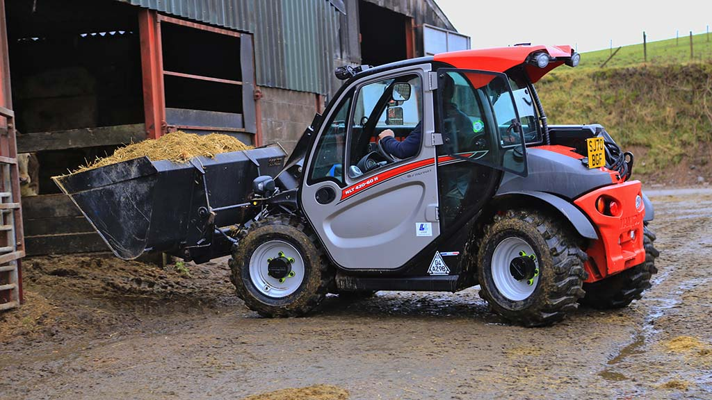Feeding and scraping out are daily chores the compact telehandler is responsible for.
