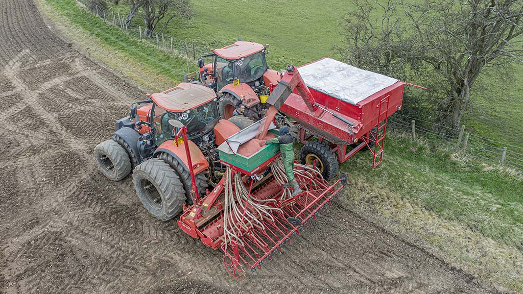 Extra uses for the chaser bin include filling the farm's four metre power-harrow drill combination.