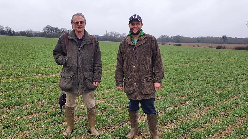 David (left) and Andrew Cooper in a field of LG Spotlight winter wheat drilled on September 23 on some the heaviest ground.