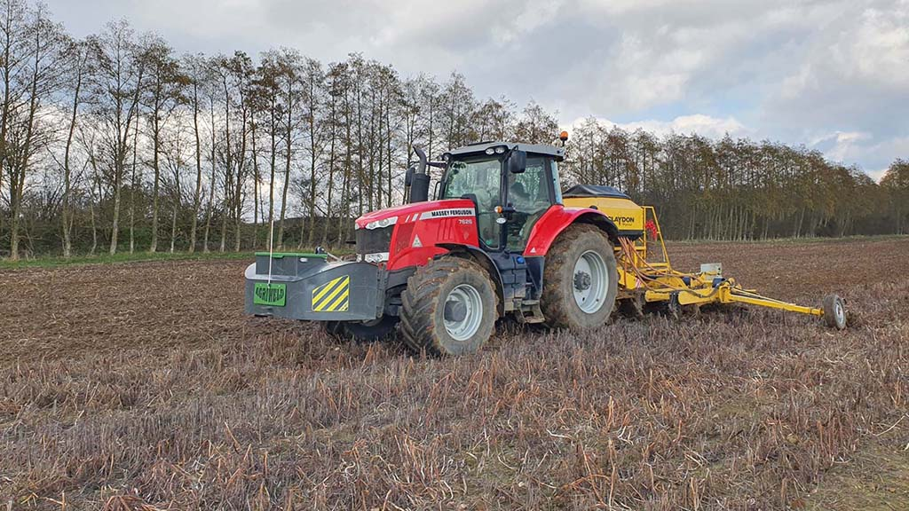 A 252hp Massey Ferguson 7625 tractor is used to pull the Hybrid drill.