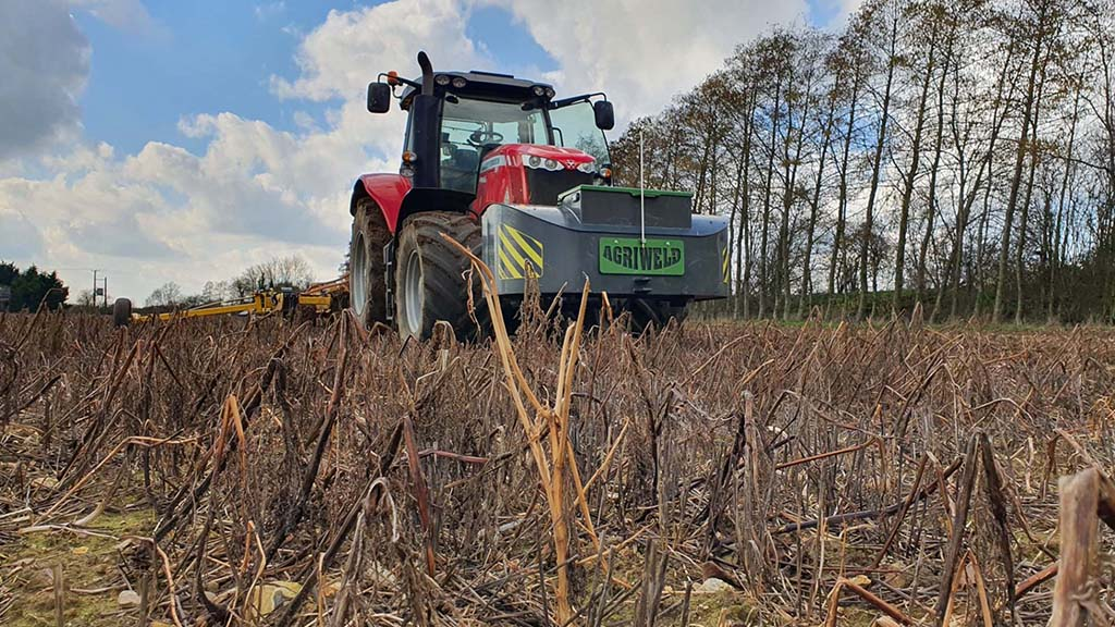 Spring oats being drilled into a cover crop using a 4m Claydon Hybrid.