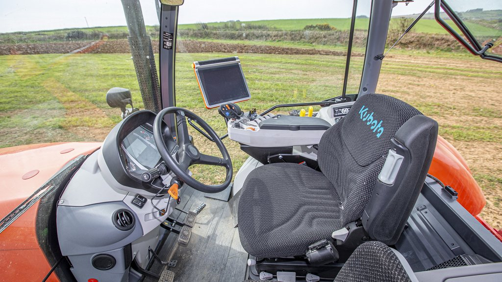 Cab finish is functional rather than flash, suggests Mr Spencer, but specification for the KVT models includes the large display monitor adopted when Kubota acquired the Kverneland group.