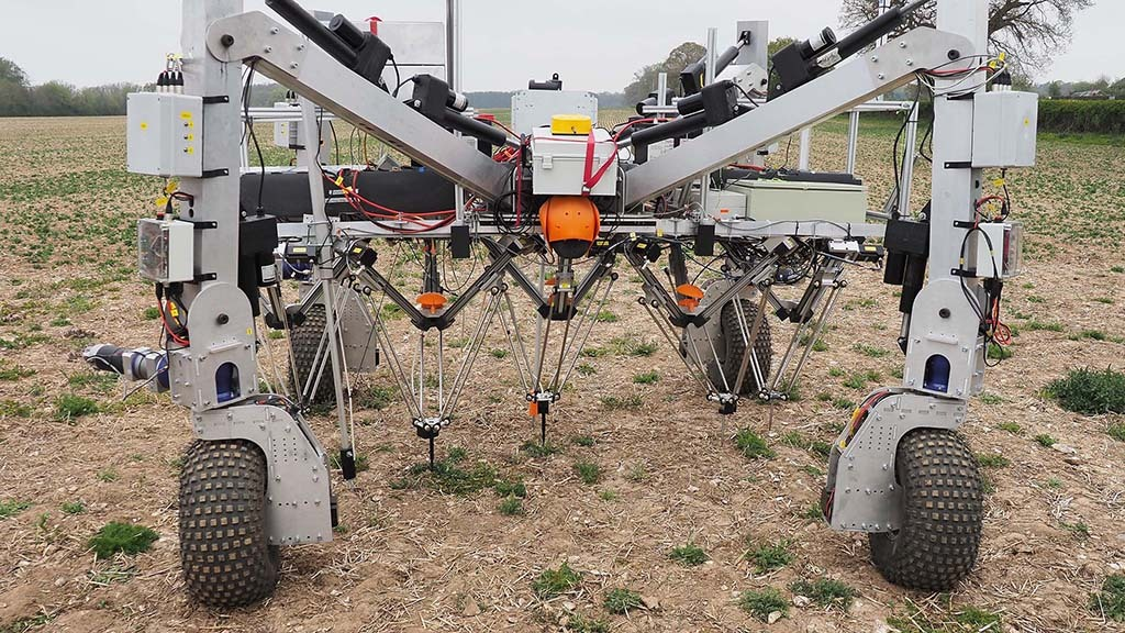 The Dick weeding robot continues to develop, with the Rootwave electrical probes being field trialled on a test rig.