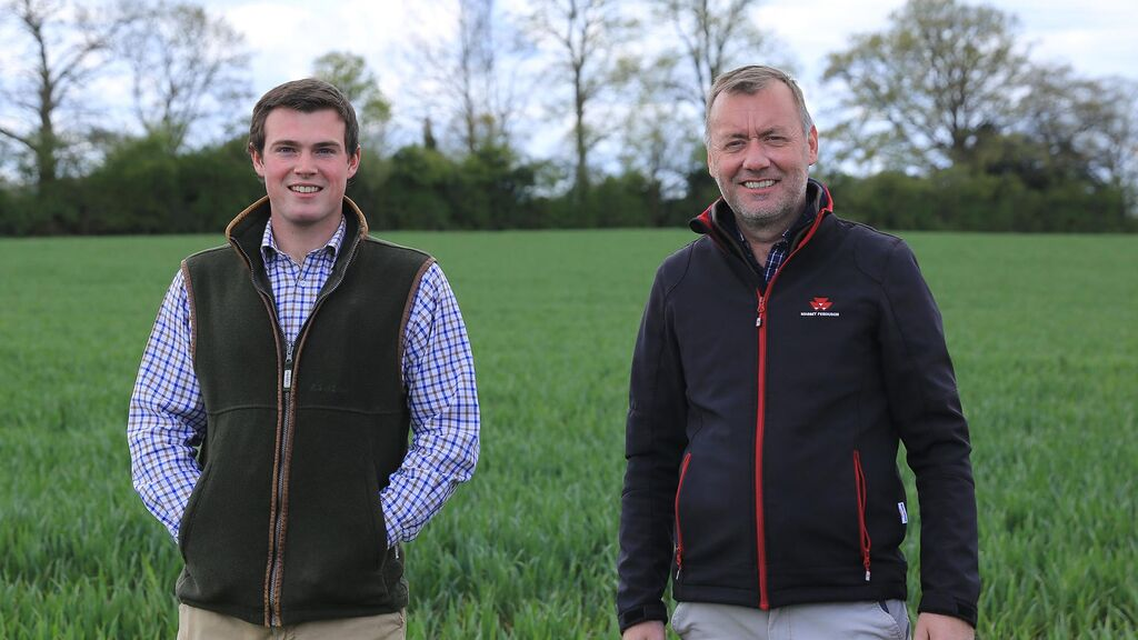 Operator Rhys Edwards (left) and farm manager Simon Bayliss are looking at ways to reduce reliance on chemicals.