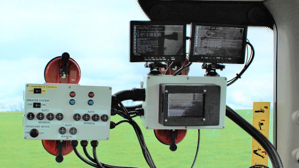 Control terminals in the cab are prototypes which are currently being used to monitor and collect data. The system identifies which plants are weeds and records their exact GPS co-ordinates.